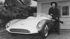 """Have Car - Will Travel"" On-Camera: Ride studio horse. Off-Camera: Drive Devin-Porsche. Actor Richard Boone, known for his role as Paladin in the television western series 'Have Gun Will Travel', poses with his Devin Monza Porsche. (Photo by Bob D'Olivo/SIM/Getty Images)"