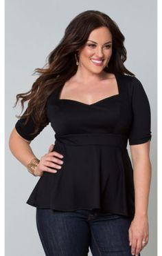 Curvalicious Clothes :: Plus Size Tops :: Posh Ponte Peplum Top- Black Plus Size Black Dresses, Plus Size Outfits, Plus Size Tops, Plus Size Women, Plus Size Vintage Clothing, Size Clothing, Plus Zise, Stylish Plus, Plus Size Kleidung