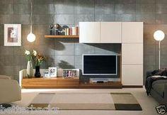 NEW Entertainment Set display unit tv books made of HDF Teak Oak Ivory wood gr | eBay