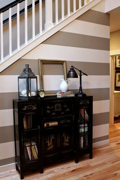 striped wall entry-way-mud-room