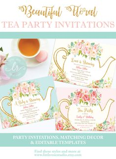 Beautiful Floral Tea Party Invitations for any event! Perfect for baby showers, bridal showers, birthday parties, mother's day, and more!