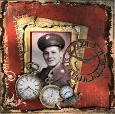 Dad ~ Heritage military page with vintage clock face embellishments. Heritage Scrapbook Pages, Vintage Scrapbook, Scrapbook Page Layouts, Scrapbook Cards, Scrapbooking Ideas, Digital Scrapbooking, Kiwi Lane Designs, 1st Responders, Anzac Day
