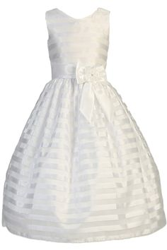 Taffeta Striped White Organza First Holy Communion Dress (Girl s Sizes 6 to  12) White 71ca28aa350f
