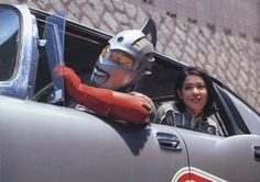 The Fin Police..This Imperial got Plucked! Ultraseven giving Anne (Yuriko Hishimi) a lift in the Pointer. Publicity photo from ULTRASEVEN, 1967.