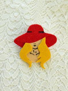 Women felt brooch in red hat felt women pin retro by Jousilook Handmade Felt, Handmade Jewelry, 60s Jewelry, Felt Brooch, Red Hats, Direct Sales, Vintage Brooches, Etsy Seller, Crochet Hats