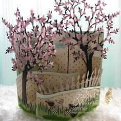 Tutorial: 'Bendi Fold' Card with Japanese Cherry Trees -- make this yourself in less than 12 steps!