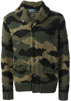47542ac67a5 Polo Ralph Lauren - Green Camouflage Knit Cardigan for Men - Lyst
