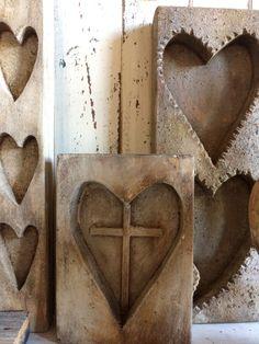 Wonderful wooden heart molds at A Fine Farmhouse