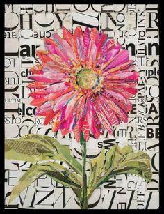 Paper Collage Art, Collage Art Mixed Media, Paper Art, Flower Collage, Collage Collage, Mixed Media Journal, Collage Techniques, Flower Quilts, Landscape Quilts