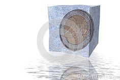 Two Euro coin in ice cube by Gandolfo Cannatella, via Dreamstime