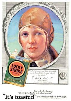 Lucky Strike Cigarettes Vintage 1928 Ad - Amelia Earhart (Wall Art Print 11 x 14 via Etsy) Vintage Cigarette Ads, Vintage Ads, Vintage Signs, Vintage Posters, Cigarette Box, 1920s Advertisements, 1920s Ads, Advertising, 1930s