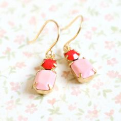 Little Pink and Red Earrings