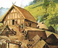 Mead Hall - A large one room building used for feasting and drinking by ancient Germanic peoples. Mead was an alcoholic beverage made by fermenting water and honey, then adding fruits, spices or hops. Although the Vikings did not invent mead it was an integral part of their culture.