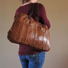 Recycled Distressed Leather Handbag Tote in Chocolate Brown (love the color)