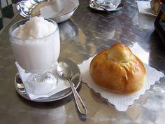 typical Sicilian almond granita, italy food.