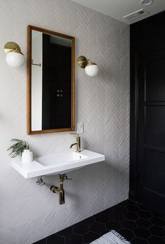 A powder room is just a rather more fancy way of referring to a bathroom or toilet room. Just like in the case of a regular bathroom, the powder room may present different challenges related to its interior design and… Continue Reading → Bad Inspiration, Bathroom Inspiration, Black Hexagon Tile, Hexagon Tiles, White Tiles, Chevron Tile, Honeycomb Tile, Hex Tile, Tiling