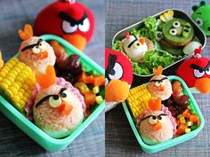 To satisfy your Angry Birds addiction and have fun in the kitchen with your kids, here is a simple way to create your own tasty Angry Birds bento! Cute Food, Good Food, Yummy Food, Healthy Food, Festa Angry Birds, Boite A Lunch, Bento Recipes, Rice Crispy Treats, Lunch Snacks