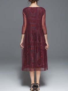KK2 Burgundy 3/4 Sleeve Paneled Midi Dress