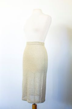 "NEW LISTING Vintage 1980s ""Regency Collection for Joyce"" Gold Stretchy Knit Pencil Skirt with Elastic Waistband Women's size Small by MeGustaVintage on Etsy"