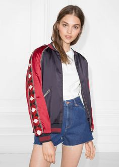 & Other Stories image 1 of Embroidery Bomber Jacket in Red & Blue