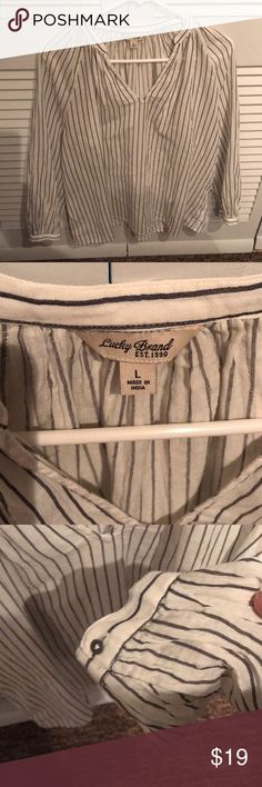 NWOT Lucky Brand stripped shirt😘 White and gray stripes smoke free home  Button sleeves awesome! Lucky Brand Tops Blouses