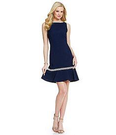KARL LAGERFELD PARIS Braided Flounce Hem Detail Dress #Dillards