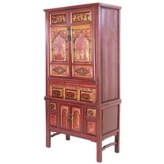 Antique Chinese Deep Red 76 inch Tall Cabinet Gilt Designs  sc 1 st  Pinterest & Antique Chinese Pale Green Tall Wardrobe Cabinet Wedding storage ...