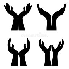 Illustration about Collection of 4 open hands silhouette. Illustration of hope, clipart, conceptual - 19231810 Hand Clipart, Free Clipart Images, Hand Illustration, Illustrations, Hands Holding Flowers, Giving Hands, Massage Logo, Kneeling In Prayer, Hand Silhouette