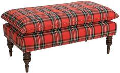 Eva Pillow-Top Bench, Red Tartan - Standard Benches - Storage Furniture & Benches - Entry - Furniture One Kings Lane