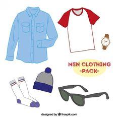 Paquete de ropa de hombres Vector Gratis