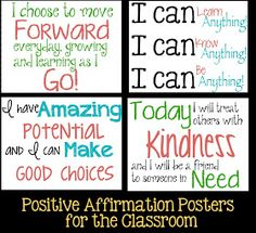 Positive attitude quotes for kids: tween teaching: positive affirmations fo Positive Affirmations For Kids, Affirmations Positives, Positive Thoughts, Daily Affirmations, Quotes Positive, Positive Motivation, Positive Outlook, Positive Attitude, Frases