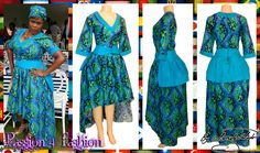 Modern traditional  green and blue hi lo dress with a V neckline, 3/4 sleeves and a back peplum with waistbelt. Matching doek.