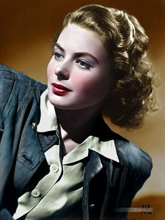 Colors for a Bygone Era: Ingrid Bergman - colorized & stylized by Alex Lim from a 1948 photo Hollywood Photo, Hollywood Actor, Hollywood Celebrities, Hollywood Stars, Hollywood Actresses, Classic Hollywood, Actors & Actresses, Divas, Evelyn Nesbit