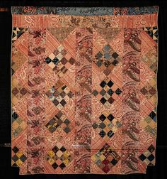 Chintz Bars by Unknown Quilter. Hand pieced and quilted - notice the fabrics, colors, blocks Old Quilts, Strip Quilts, Antique Quilts, Scrappy Quilts, Small Quilts, Vintage Quilts, Vintage Fabrics, Mini Quilts, Vintage Toys