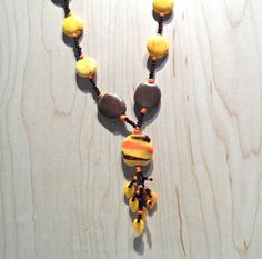 Beaded Pendant Necklace in Yellow Brown and Orange, Kazuri beads, beaded pendant, yellow brown,and orange, beaded jewelry, tribal ethnic