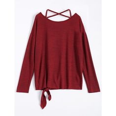 Criss Cross Knotted Hem Knitted T-Shirt ($19) ❤ liked on Polyvore featuring tops, t-shirts, criss cross top, red tee, crisscross top, knot top and red top