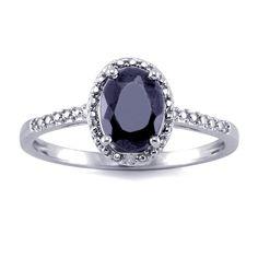 1.5 Carat Genuine Sapphire & Diamond Accent Ring