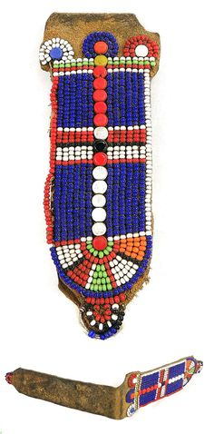 "Africa | Leather ear flap ""Gonita"" from the Maasai people of Kenya 