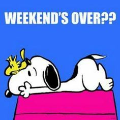 Weekend's over?   (Monday)      --Peanuts Gang/Snoopy & Woodstock