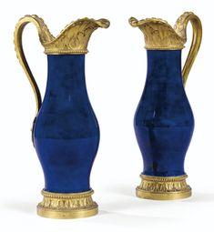 A Pair of Gilt-Bronze Mounted Sevres Blue Porcelain Ewers, Louis XVI     sotheby's