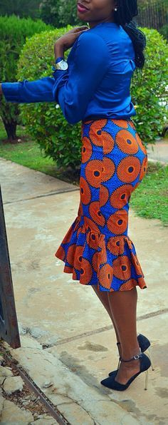 Meena Skirt with Peplum Hem Black waistband by CoCoCremeCouturier African Print Skirt, African Print Dresses, African Dresses For Women, African Wear, African Attire, African Fashion Dresses, African Fabric, African Women, Ghanaian Fashion