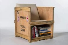 Repurposing a crate into a seat with book shelf