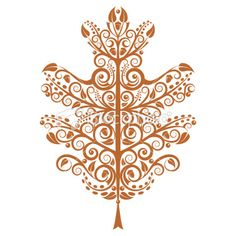 Tattoo Inspiration - Oak Leaf Royalty Free Stock Vector Art Illustration