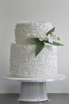 """Maggie & Myrtle"", white wedding cake with frills and myrtle, by www.mooietaart.nl"