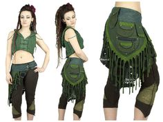 green fabrics over skirt utility belt with lace by BaliWoodShop