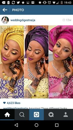 From @weddingdigestnaija  Breathtaking #henna and the different outfits of a #NigerianBride