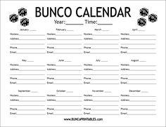 Bunco Calendar - Get it FREE at www.BuncoPrintables.com!