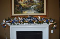 Custom Order Susie, Client provided Team ornaments to add to garland. Mantle Garland, Silver Garland, Christmas Decorations, Christmas Tree, Holiday Decor, Cowboy Theme, Dallas Cowboys, Blue And Silver, Football