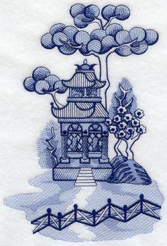 This design is inspired by the Blue Willow china patterns. Blue Willow China, Blue And White China, Blue China, Blue Willow Decor, Machine Embroidery Designs, Embroidery Patterns, Embroidery Scissors, Hand Embroidery, Chinese Patterns