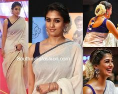 Nayanthara attended the Vikatan awards wearing a white handloom linen saree paired with contrast blue sleeveless blouse. Silver accessories and a braided bun enhanced with mogra completed her look! Onam Saree, Khadi Saree, Raw Silk Saree, Kerala Saree, Salwar Kameez, Cotton Saree, Kurti, Nayanthara In Saree, Nayanthara Hairstyle